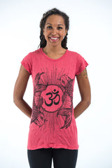 Sure Design Women's Ohm and Koi fish T-Shirt Red