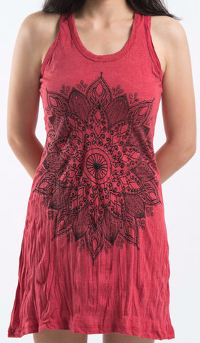 Sure Design Women's Lotus Mandala Tank Dress Red