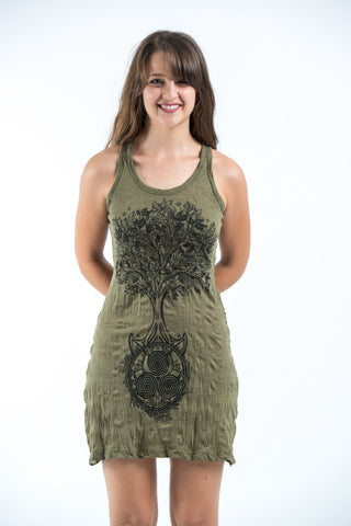 Sure Design Women's Celtic Tree Tank Dress Green