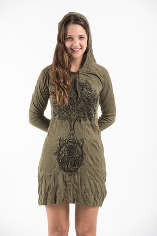 Sure Design Women's Celtic Tree Hoodie Dress Green