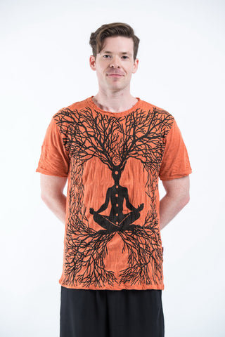 Sure Design Mens Ohm Meditation Tree T-Shirt Orange