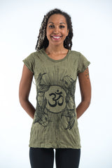 Sure Design Women's Ohm and Koi fish T-Shirt Green