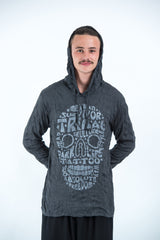 Sure Design Unisex Tribal Skull Hoodie Silver on Black