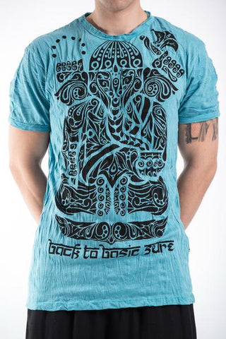 Sure Design Men's Tattoo Ganesh T-Shirt Turquoise