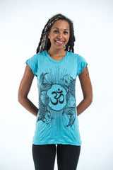 Sure Design Women's Ohm and Koi fish T-Shirt Turquoise