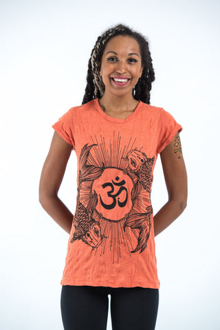Sure Design Women's Ohm and Koi fish T-Shirt Orange