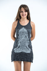 Sure Design Women's Ganesh Mantra Tank Dress Silver on Black