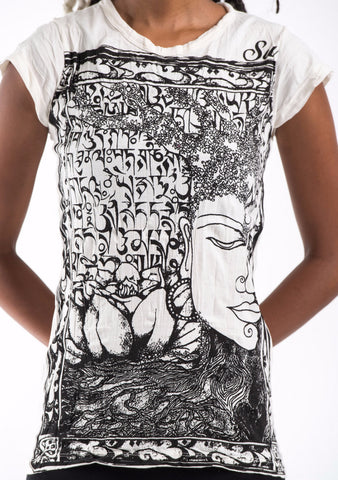 Sure Design Women's Sanskrit Buddha T-Shirt White