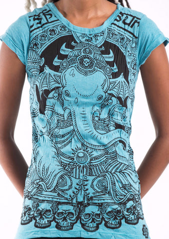 Sure Design Women's Batman Ganesh T-Shirt Turquoise