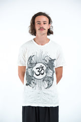 Sure Design Mens Ohm and Koi fish T-Shirt White