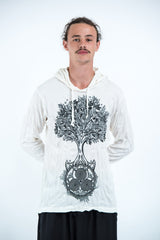 Sure Design Unisex Celtic Tree Hoodie White