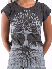 Sure Design Women's Tree of Life T-Shirt Silver on Black