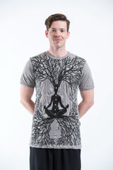 Sure Design Mens Ohm Meditation Tree T-Shirt Gray