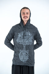 Sure Design Unisex Celtic Tree Hoodie Silver on Black