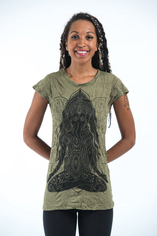 Sure Design Women's Ganesh Mantra T-Shirt Green