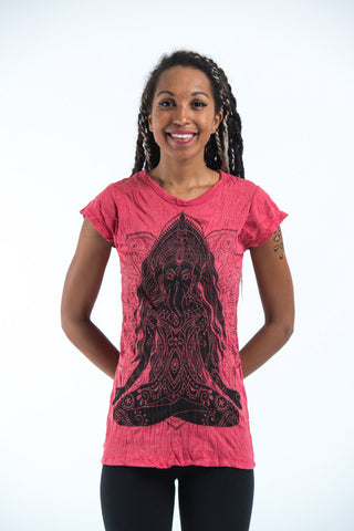 Sure Design Women's Ganesh Mantra T-Shirt Red