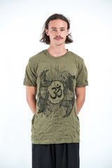 Sure Design Mens Ohm and Koi fish T-Shirt Green