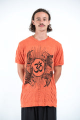Sure Design Mens Ohm and Koi fish T-Shirt Orange