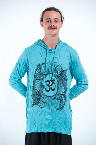 Sure Design Unisex Ohm and Koi fish Hoodie Turquoise