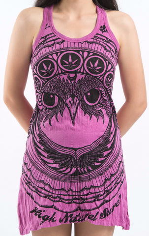 Sure Design Women's Weed Owl Tank Dress Pink