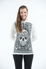 Sure Design Unisex Trippy Skull Hoodie White