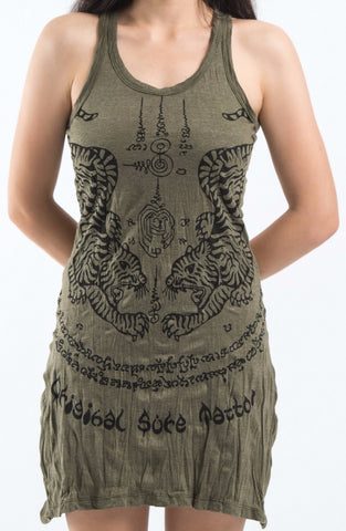 Sure Design Women's Thai Tattoo Tank Dress Green