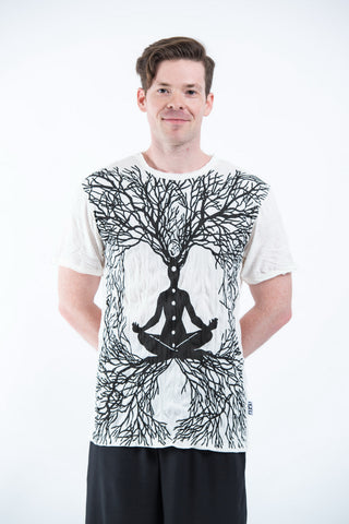 Sure Design Mens Ohm Meditation Tree T-Shirt White