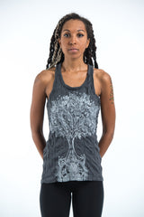 Sure Design Women's Celtic Tree Tank Top Silver on Black
