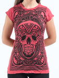 Wholesale Sure Design Women's Trippy Skull T-Shirt Red - $8.00