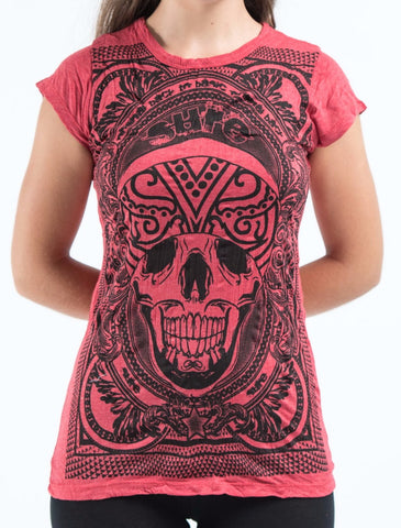 Sure Design Women's Trippy Skull T-Shirt Red