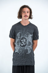 Sure Design Mens Ohm and Koi fish T-Shirt Silver on Black