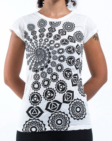 Sure Design Women's Chakra Fractal T-Shirt White