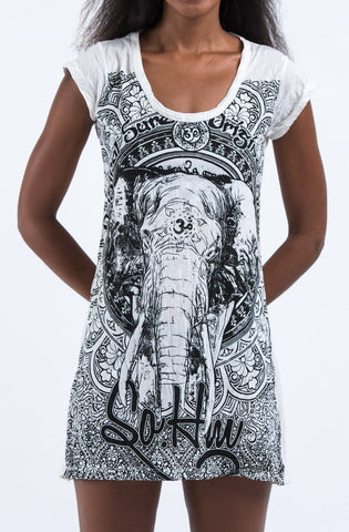 Sure Design Women's Wild Elephant Dress White