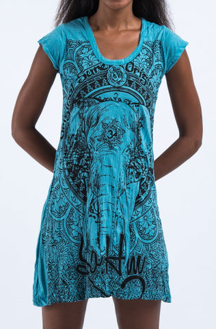 Sure Design Women's Wild Elephant Dress Turquoise