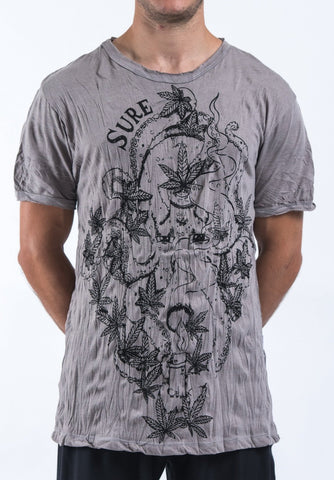 Sure Design Mens Octopus Weed T-Shirt Gray