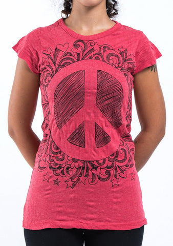 Sure Design Women's Peace Sign T-Shirt Red