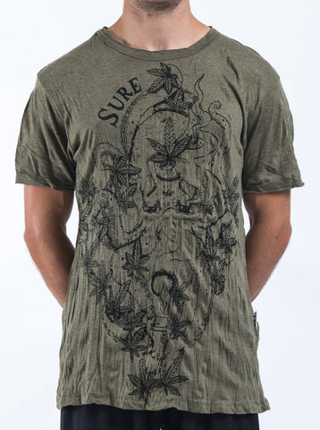 Sure Design Mens Octopus Weed T-Shirt Green