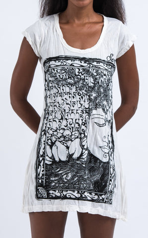 Sure Design Women's Sanskrit Buddha Dress White