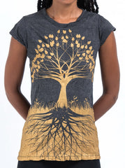 Sure Design Women's Tree of Life T-Shirt Gold on Black