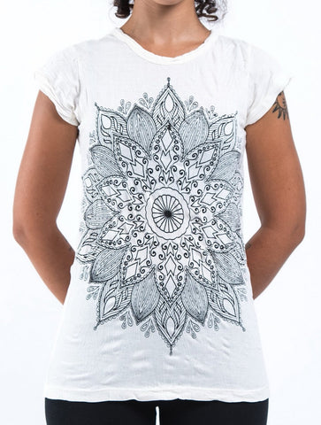 Sure Design Women's Lotus Mandala T-Shirt White