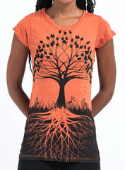 Sure Design Women's Tree of Life T-Shirt Orange