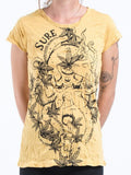 Wholesale Sure Design Womens Octopus Weed T-Shirt Yellow - $8.00