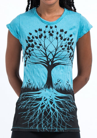 Sure Design Women's Tree of Life T-Shirt Turquoise