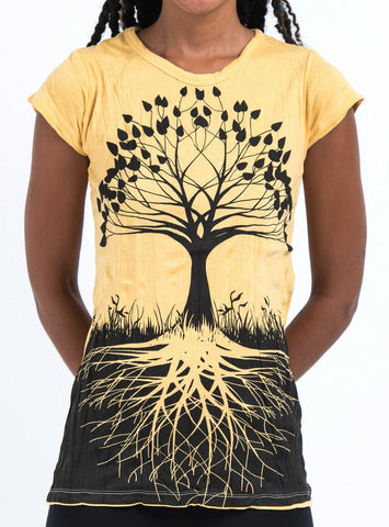 Sure Design Women's Tree of Life T-Shirt Yellow