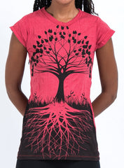 Sure Design Women's Tree Of Life T-Shirt Red
