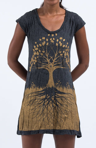 Sure Design Women's Tree of Life Dress Gold on Black