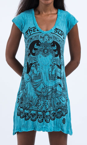Sure Design Women's Batman Ganesh Dress Turquoise