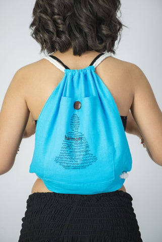 Harmony Drawstring Cotton Canvas Backpack in Light Blue