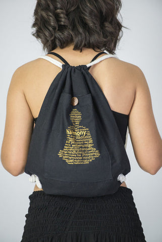 Harmony Drawstring Cotton Canvas Backpack in Gold on Black