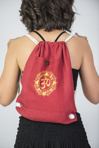Ohm Drawstring Cotton Canvas Backpack in Red